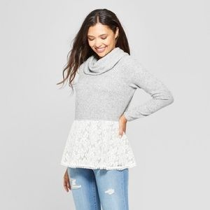 Knox Rose Gray Lace Hem Cowl Neck Sweater XS